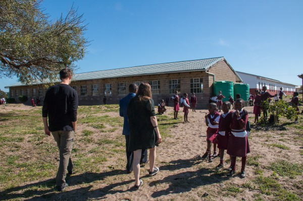 Getting a guided tour of the school area