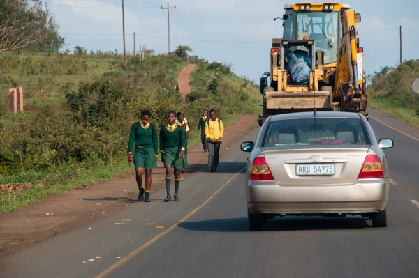 Learners on their way home from school