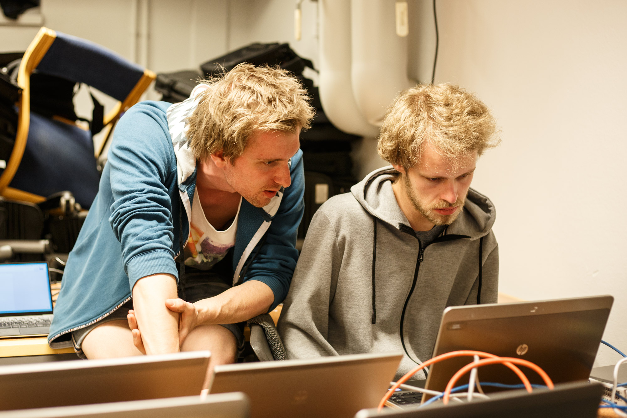 Oskar (left) and Joel (right) helping us setting up the installation of Wikipedia.