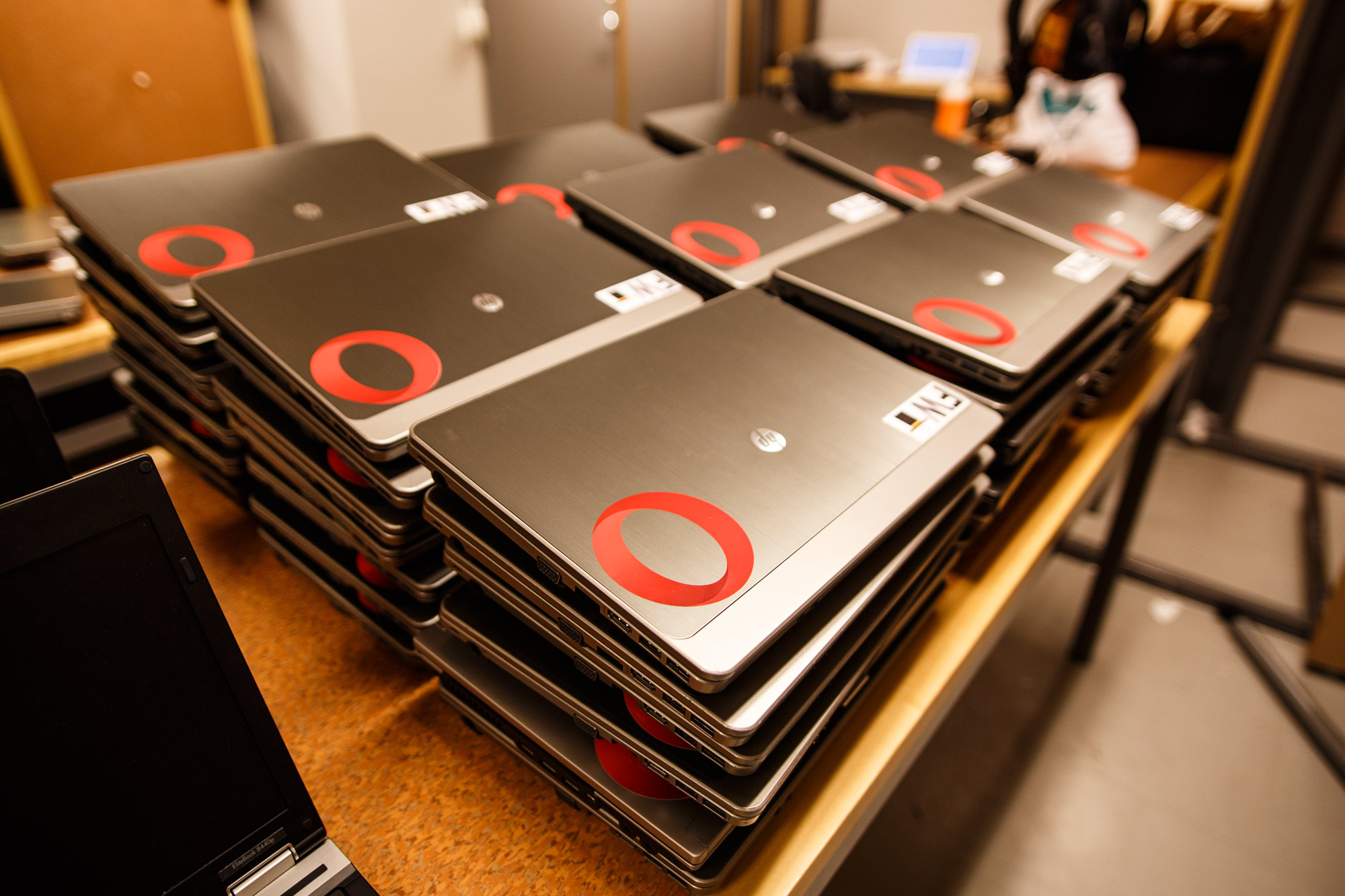 Some of the computers with Opera and Findwise stickers.