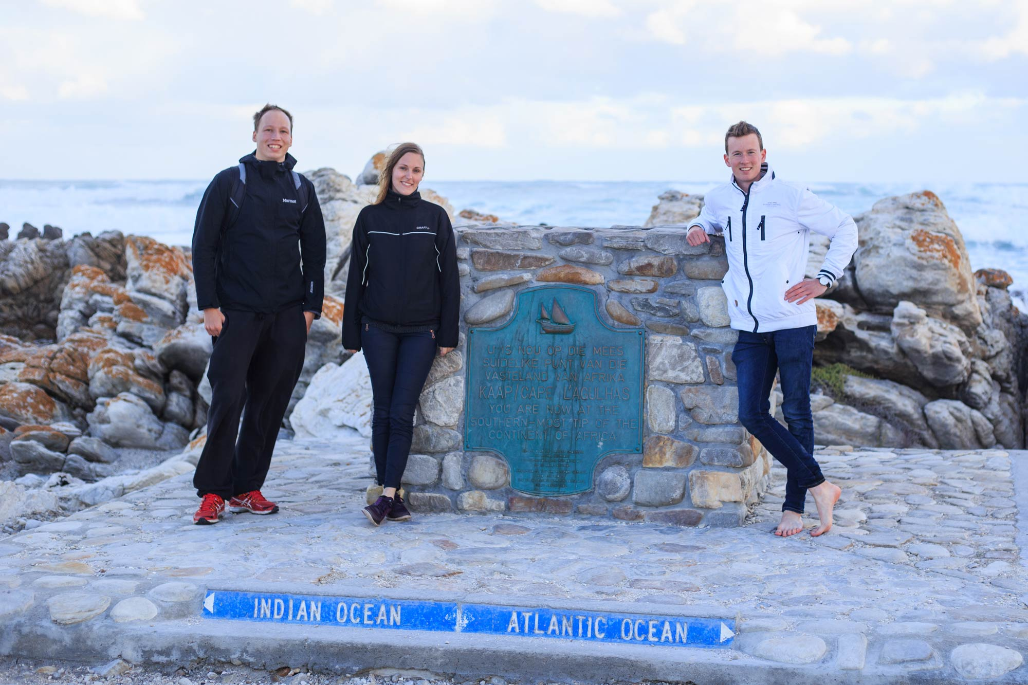 At the southernmost point of Africa, Cape Agulhas.